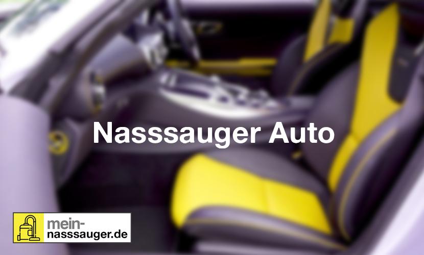 Innenraum eines Autos mit gelben Sitzen und Beschriftung Nasssauger Auto
