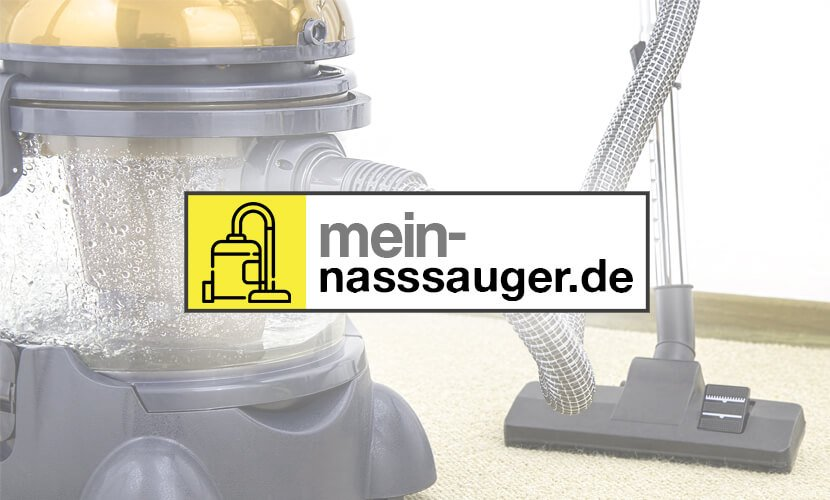 Logo der Webseite mit Nasssauger im Hintergrund